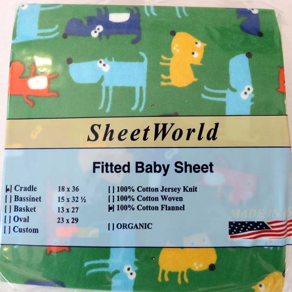 Doggies Green Flannel Cradle Sheet