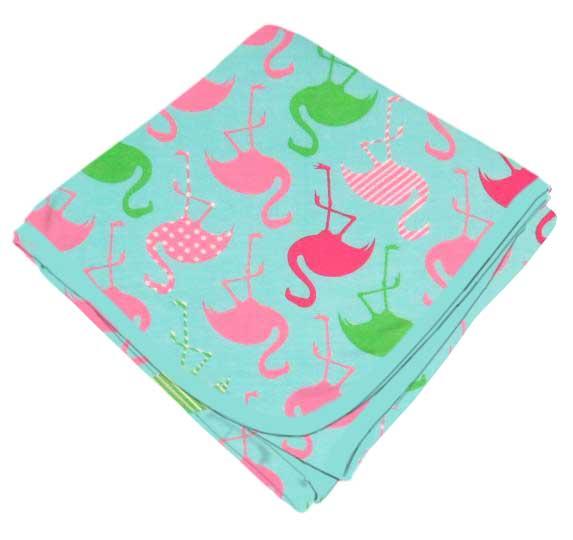 Flamingos Aqua Receiving Blanket