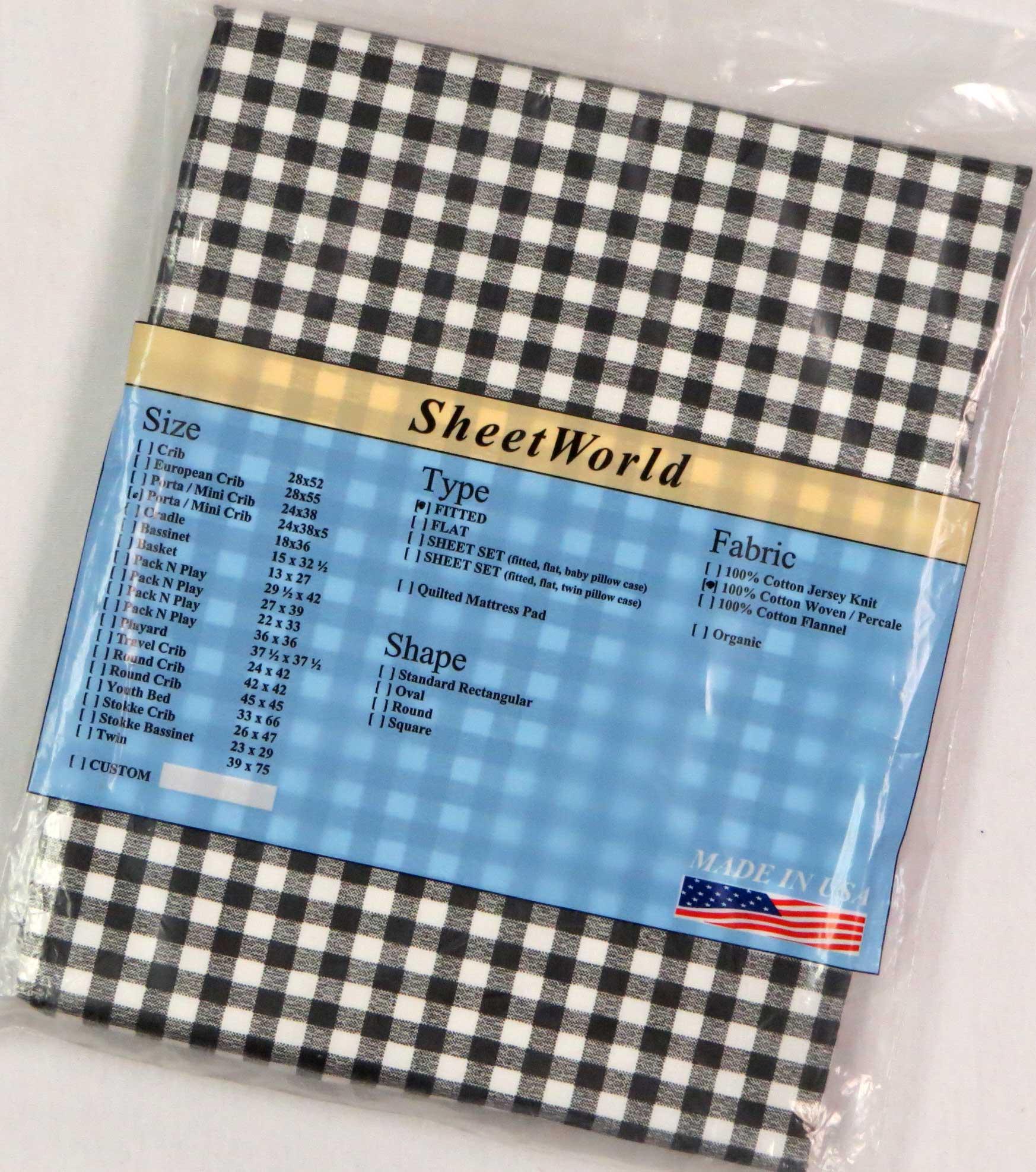 Black Gingham Check Cotton Portable / Mini Crib Sheet - 24 x 38 x 5