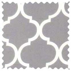 Grey Large Quatrefoil Fabric