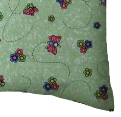 Percale Pillow Case - Green Butterfly Daisy