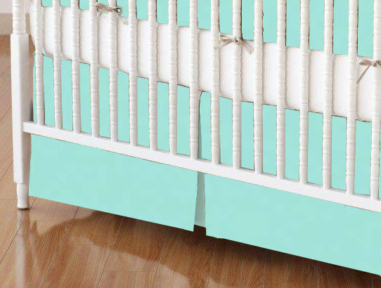 Mini Crib Skirt - Solid Aqua Woven