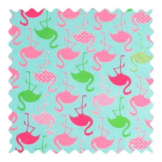 Flamingos Aqua Fabric - 100% Cotton Jersey - 22 x 55 inches