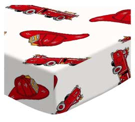 Oval (Stokke Mini) - Fire Engines - Fitted Oval - 100% Cotton Percale - Baby Transport Oval Sheets