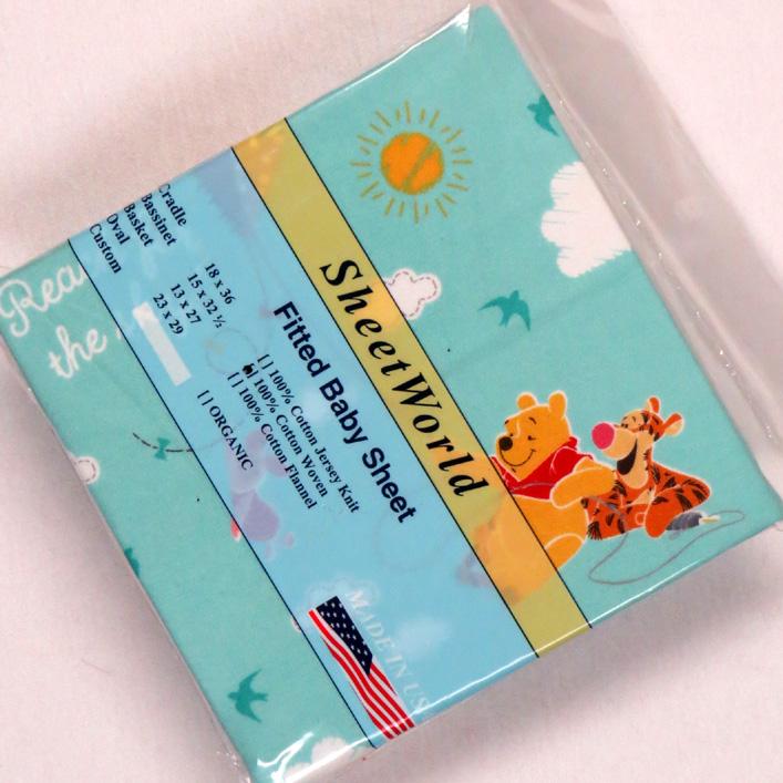Winnie The Pooh Aqua Cotton Woven Cradle Sheet 18x36
