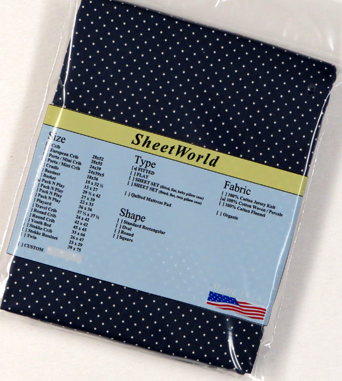 Pindots Navy Fitted Cotton Percale Large Pack N Play Sheet - 29.5 x 42