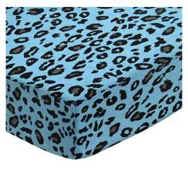 Cradle - Blue Leopard - Matching Comforter - 100% Cotton Woven - Leopard Cradle Sheets