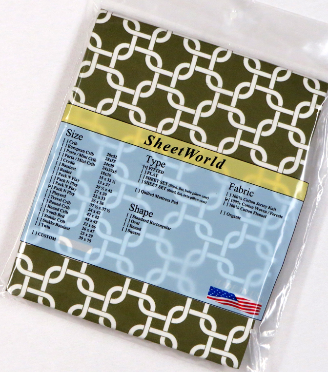 Green Links - Cotton Percale Fitted Square Playard Sheet Fits Graco TotBloc 36 x 36
