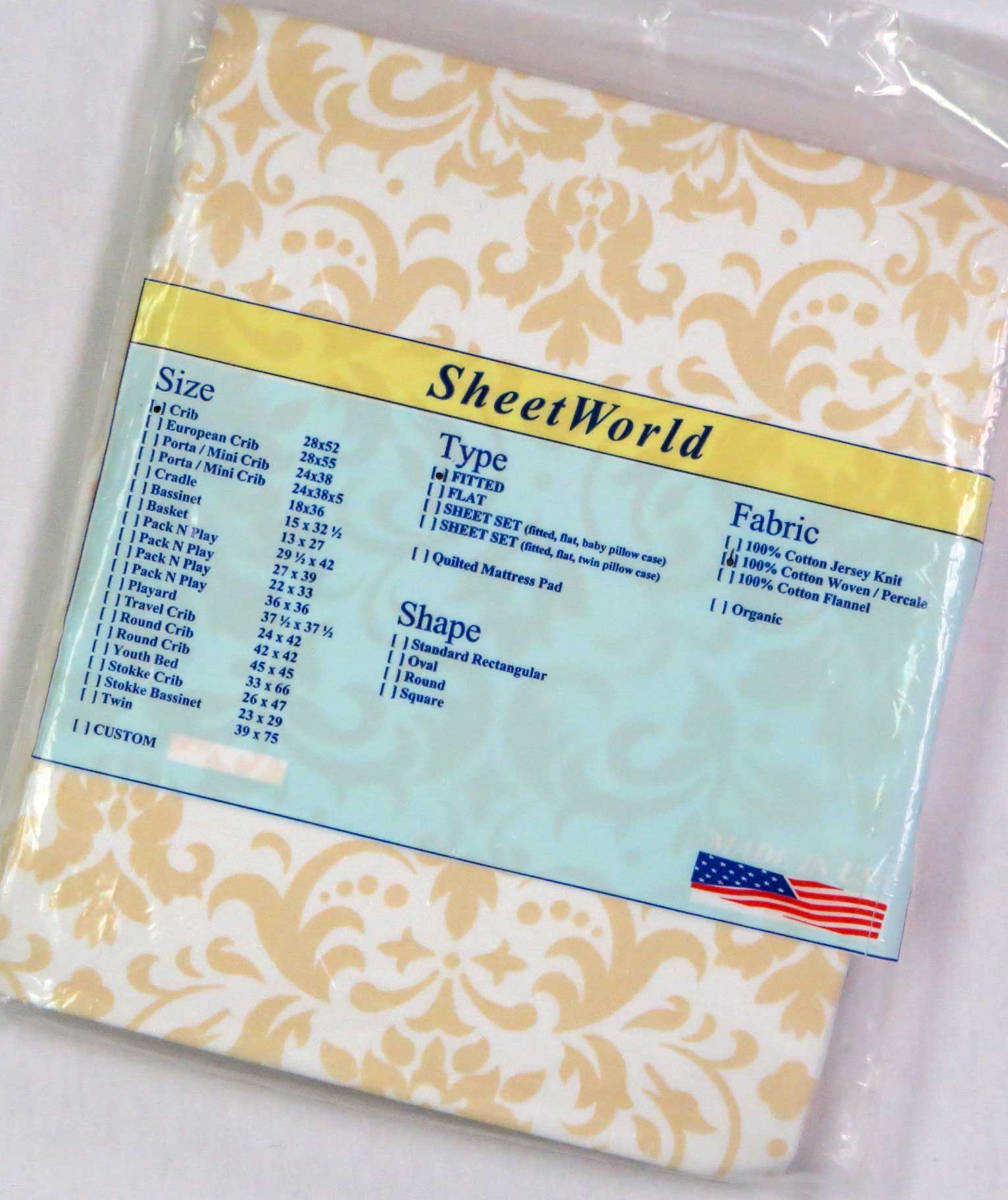 Beige Damask Cotton Crib Sheet - 28 x 52