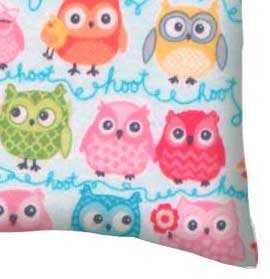Flannel Pillow Case - Owls Blue