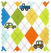 Fabric Shop - Argyle White Transport Fabric - Yard - 100% Cotton Percale - Baby Transport Fabric Shop