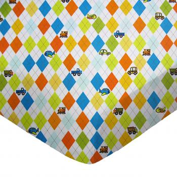 Square Playard (Graco) - Argyle White Transport - Fitted - 100% Cotton Percale - Baby Transport Square Sheets