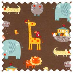 Noahs Ark Brown Fabric