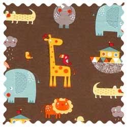 Noahs Ark Brown Fabric