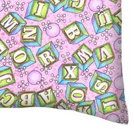 Flannel Pillow Case - ABC Blocks Pink
