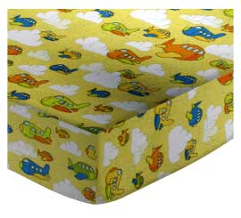Basket - Airplanes Yellow - Fitted - 100% Cotton Flannel - Baby Transport Basket Sheets