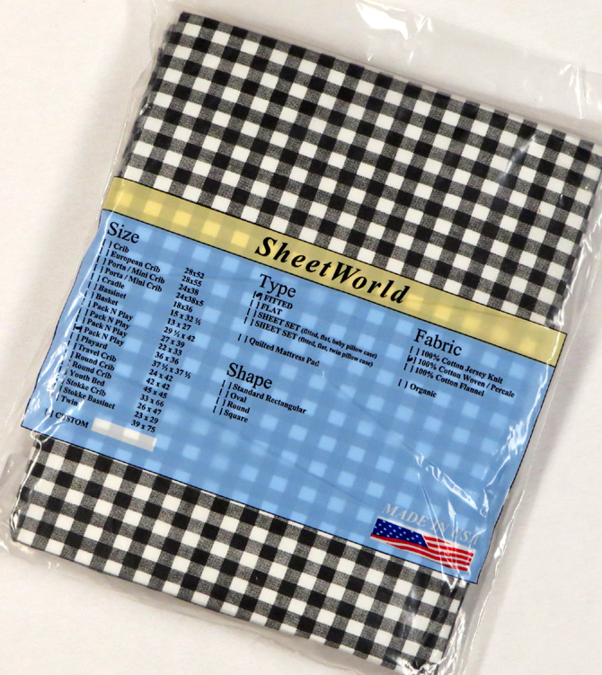 Black Gingham - Cotton Percale Fitted Square Playard Sheet Fits Graco TotBloc 36 x 36