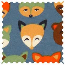 Woodland Animals Blue Fabric