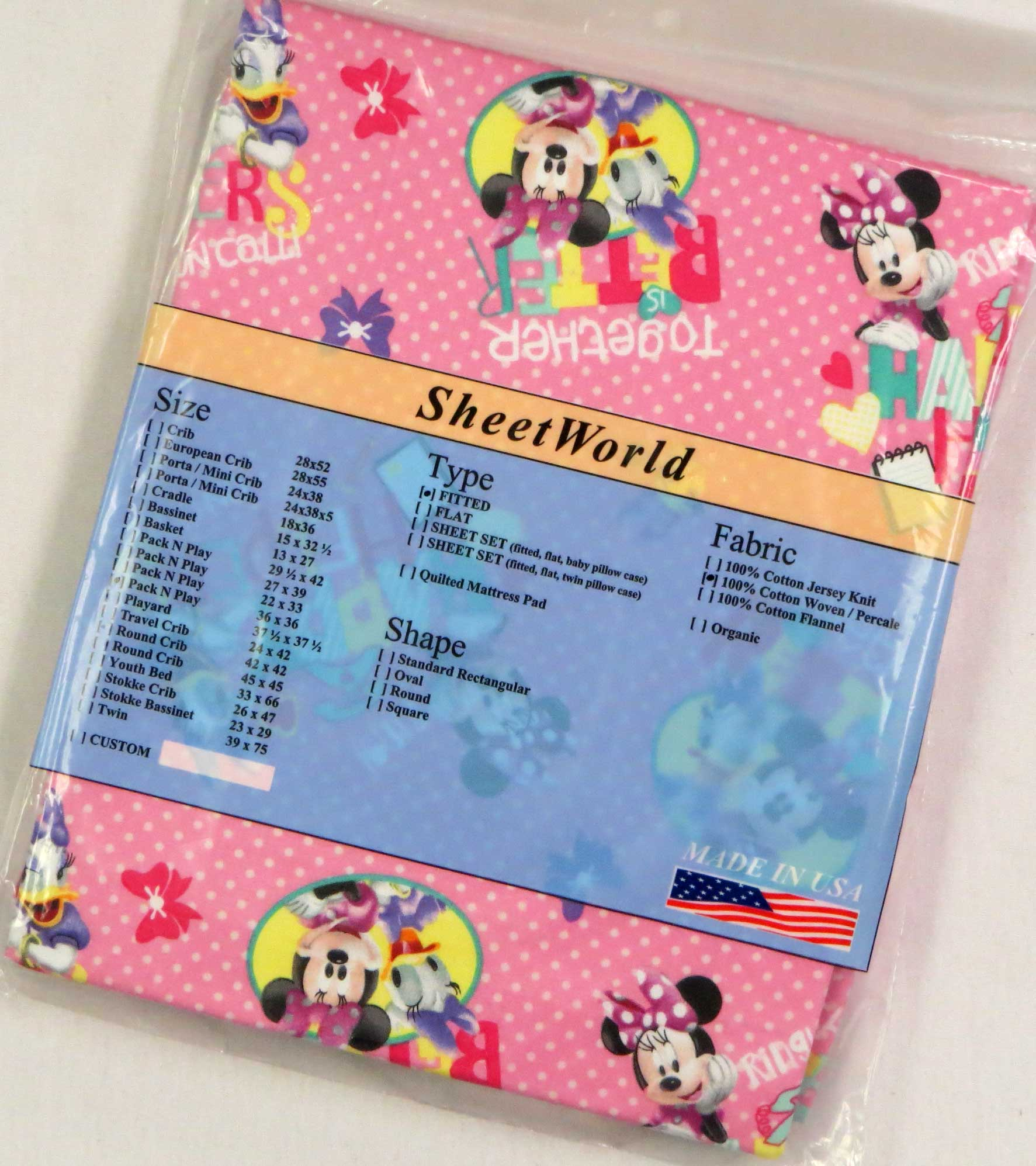 Minnie Mouse Pink Cotton Fitted Square Playard Sheet Fits Graco TotBloc 36 x 36
