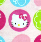 Round Crib - Hello Kitty Circles - 42'' Fitted - 100% Cotton Flannel - Character Prints Round Crib Sheets