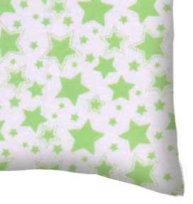 Flannel Pillow Case - Green Stars