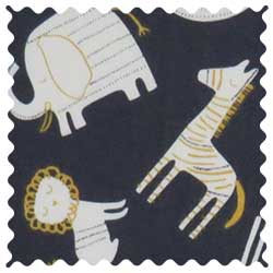 Modern Safari Animals Dark Gray Fabric