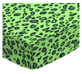 Cradle - Lime Leopard - Fitted - 100% Cotton Woven - Leopard Cradle Sheets