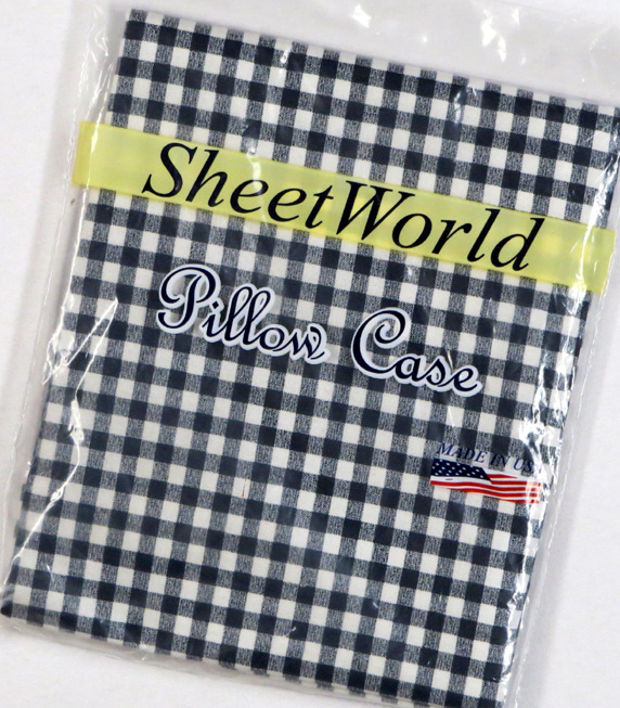 Navy Gingham Cotton Twin Pillow Case
