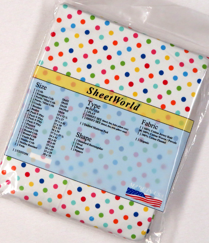 Primary Colorful Dots - Fitted Large Cotton Pack N Play Sheet - 29.5 x 42