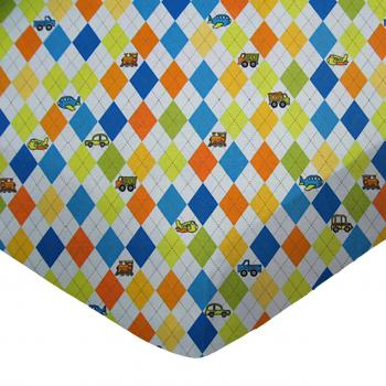 Round Crib - Argyle Blue Transport - 42'' Fitted - 100% Cotton Percale - Baby Transport Round Crib Sheets