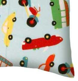 Flannel Pillow Case - Vehicles Aqua