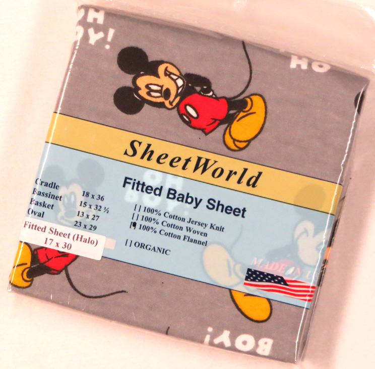 Oh Boy Mickey Mouse Cotton Flannel Bassinest Sheet - Fits Halo