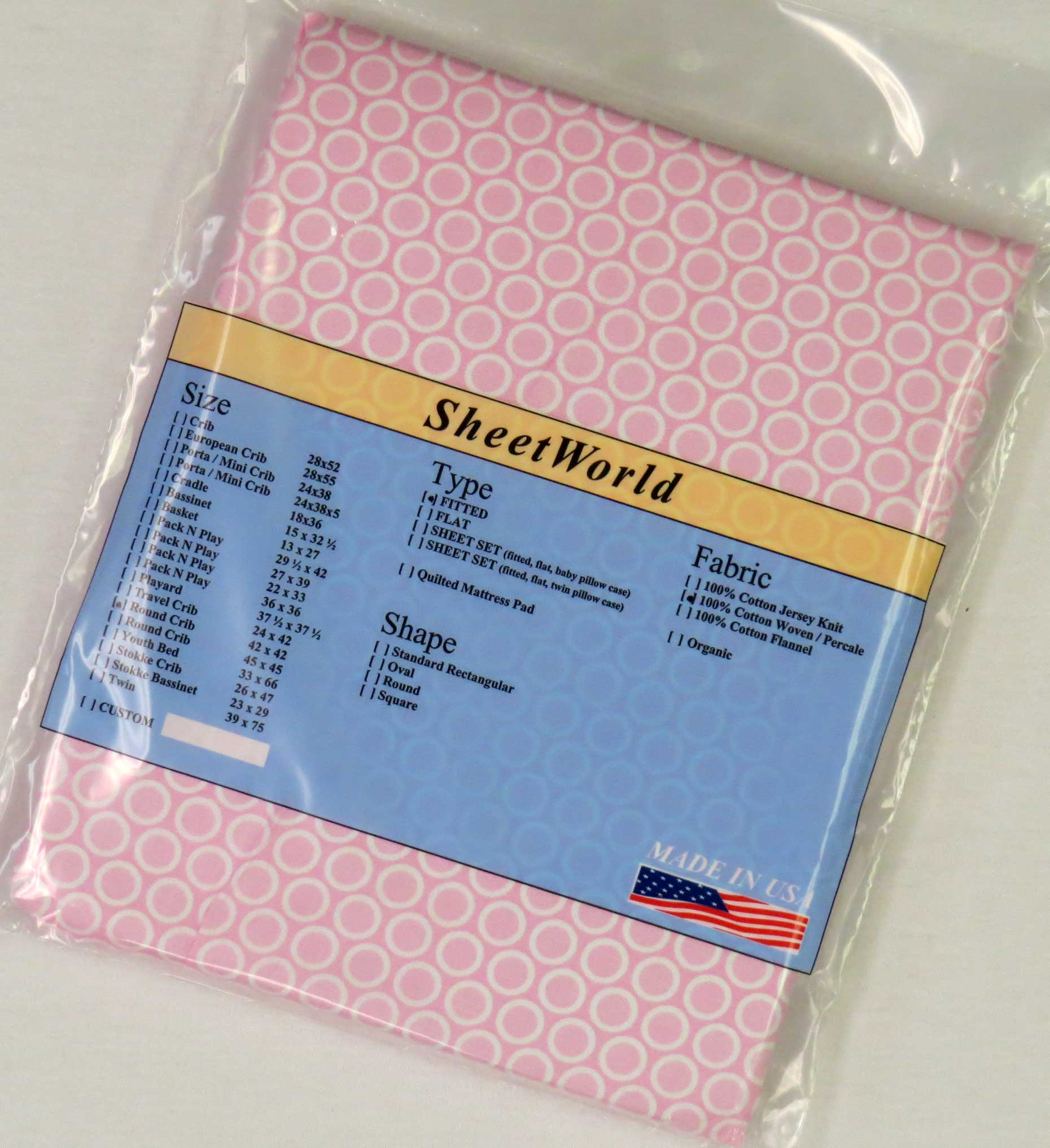 Pink Bubbles Cotton Fitted Round Crib Sheet 42 x 42