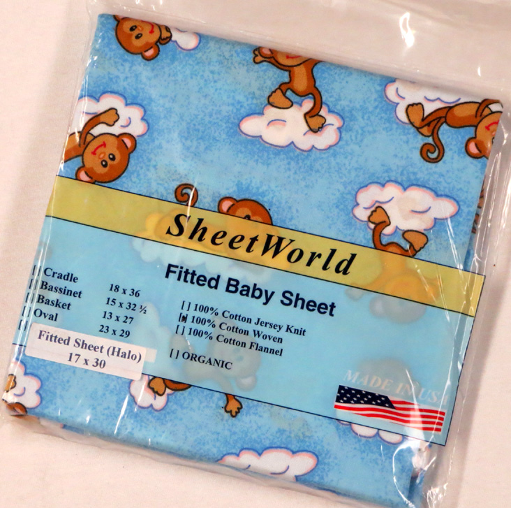 Monkeys Blue Cotton Bassinest Sheet - Fits Halo