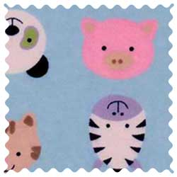 Animal Faces Blue Fabric