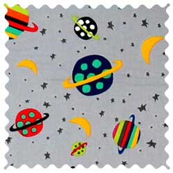 Planets Gray Fabric