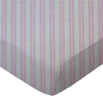 Pack N Play (Graco) - Pink Dual Stripe - Fitted - 100% Cotton Percale - Dots and Stripes and Checkered Pack N Play Sheets