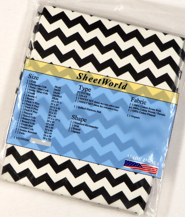Black Chevron - Cotton Fitted Pack N Play Sheet - Fits Graco - 27 x 39