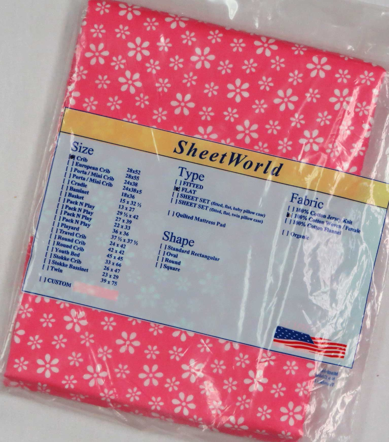 Floral Pink Cotton FLAT / TOP Crib Sheet - 68 x 44