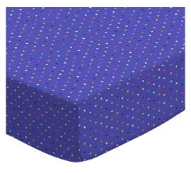 Portable / Mini Crib - Primary Colorful Pindots Purple Woven - Matching Bumper - 100% Cotton Woven - Primary Polka Dots Portable / Mini Crib Sheets