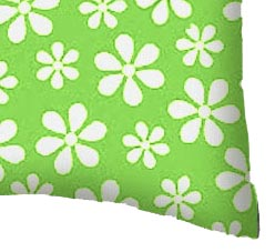 Percale Pillow Case - Primary Green Floral Woven