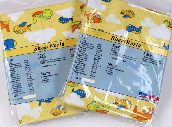 2 Pack Airplanes Yellow Square Playard Sheet - Fits Graco - 36 x 36
