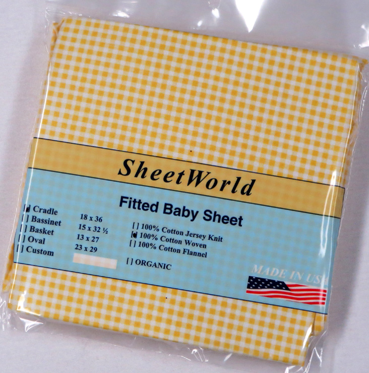 Yellow Gingham Cotton Woven Cradle Sheet - 18 x 36