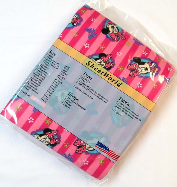 Minnie Mouse Stripe Flannel Square Playard Sheet