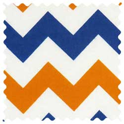 Orange & Blue Chevron Fabric