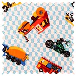 Vehicles Blue Fabric