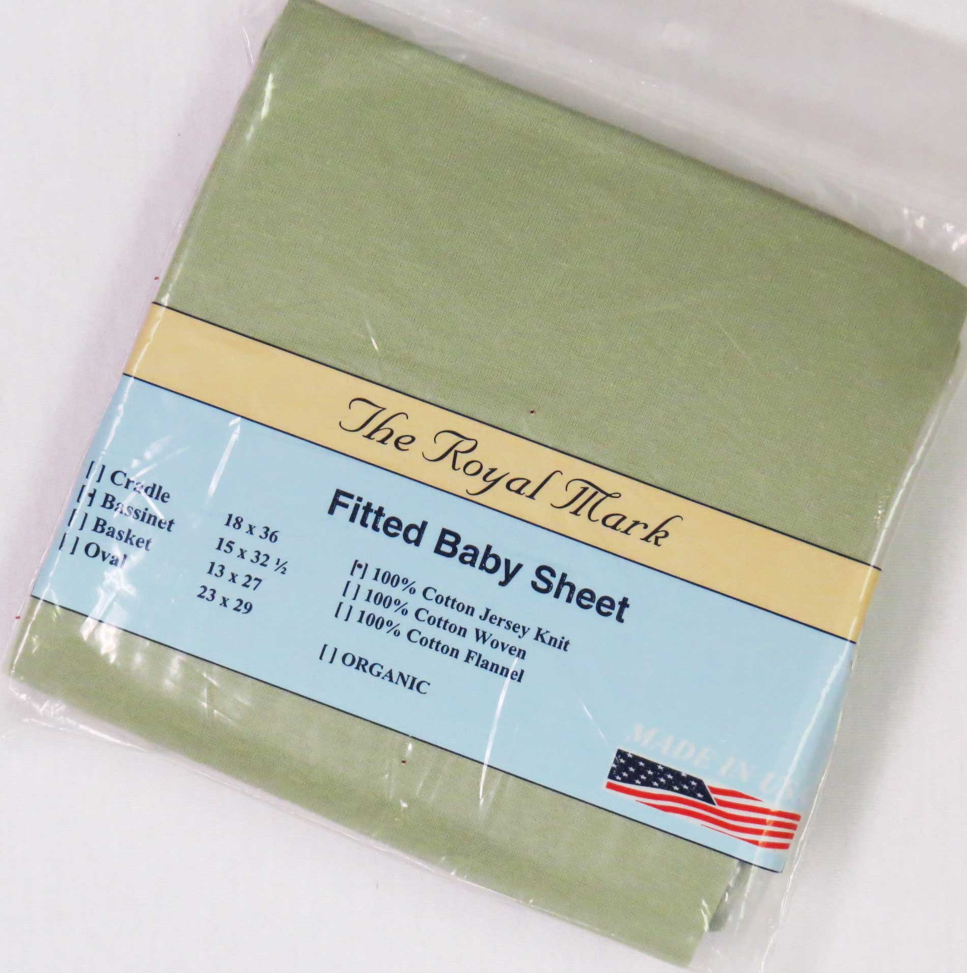 Solid Sage Cotton Jersey Knit Bassinet Sheet