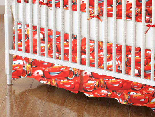 Mini Crib Skirts - Mini Crib Skirt - Lightning McQueen - Tailored - 100% Cotton Percale - Character Prints - Kid Characters Mini Crib Skirts