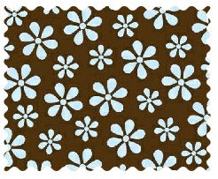 Fabric Shop - Blue Floral Brown Woven Fabric - Yard - 100% Cotton Woven - Primary Polka Dots Fabric Shop