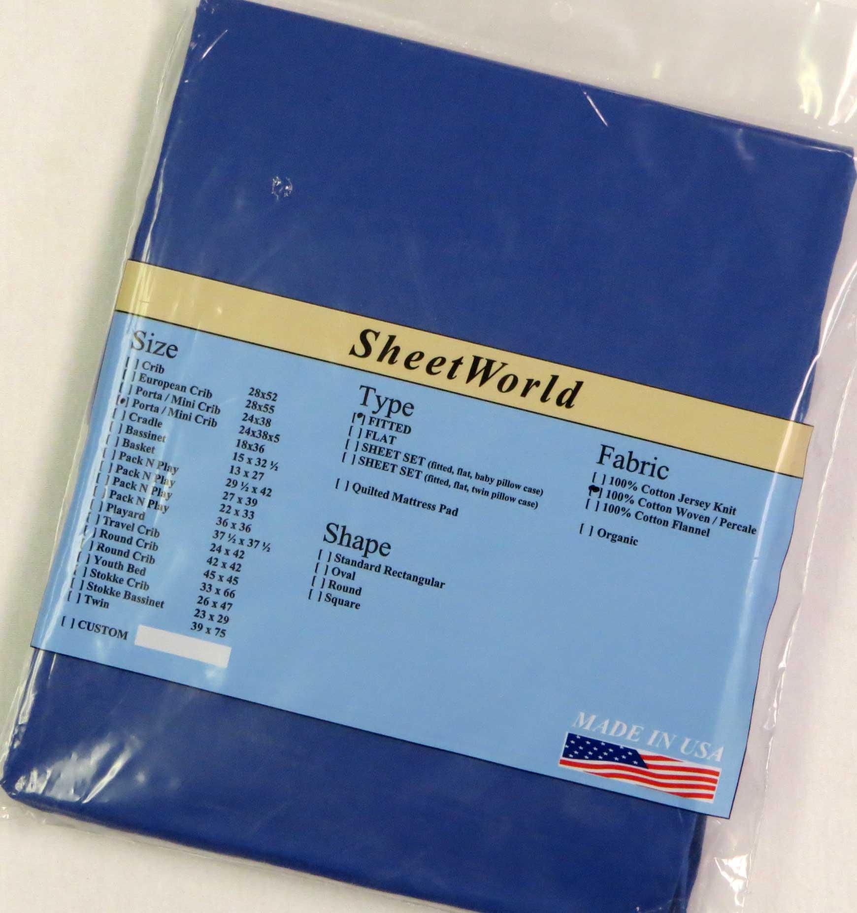 Solid Royal Blue Cotton Portable / Mini Crib Sheet - 24 x 38 x 5
